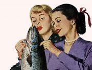 Två kvinnor och en fisk