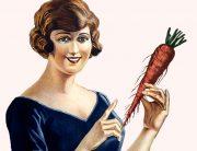 En illustration på en kvinna med en morot i handen